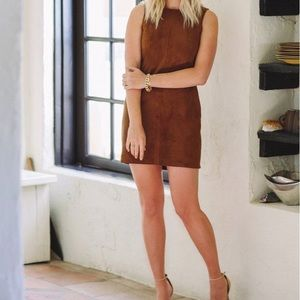 Cupcakes and cashmere brown suede dress